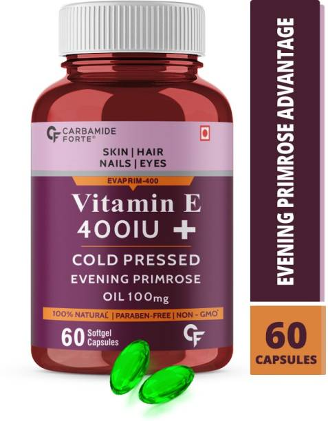 CF Vitamin E 400 IU Capsules for Skin, Face and Hair with Evening Primrose Oil 100mg