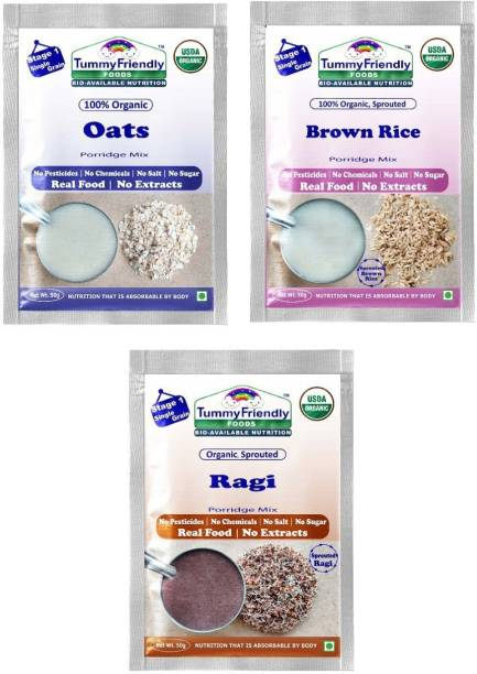 TummyFriendly Foods Certified USDA Organic Stage1 Sprouted Porridge Mixes Trial Packs Sprouted Ragi, Sprouted Brown Rice and Oats | 50g Each, Cereal