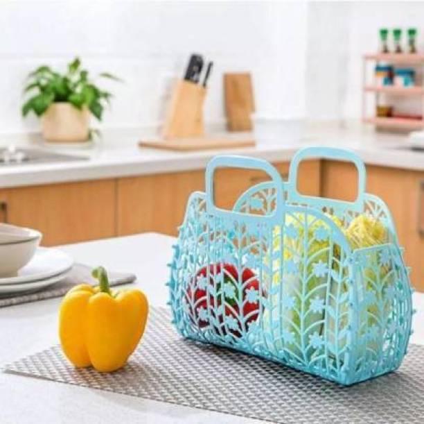 TENIDO Folding Vegetable & Fruit Storage Basket (Pack of 1) Storage Basket