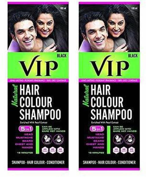 VIP NATURAL HAIR COLOUR SHAMPOO 2 x 180 ML Packs , Black