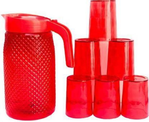 Vilsa Jug with Beautiful 6 Pieces Glasses Set for Juice/Water Serve. Jug Glass Set