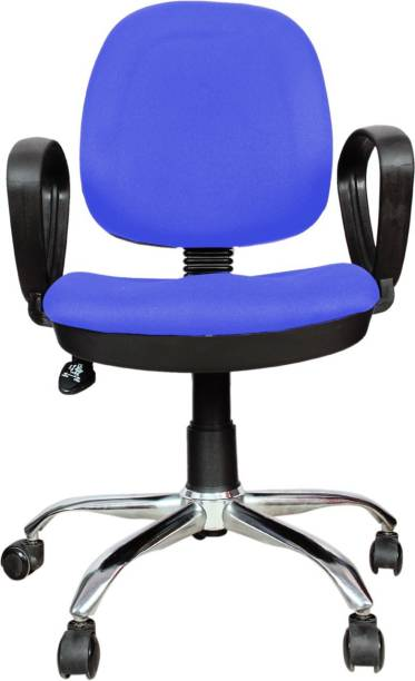 Rajpura 803 Cushioned Low Back Revolving Chair with push back mechanism in Blue Fabric Office Executive Chair