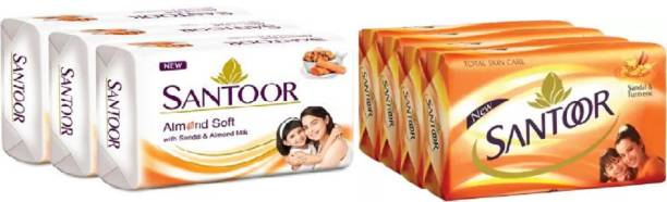 santoor TOTAL SKIN CARE SOAP & ALMOND SOFT SOAP 100 GM PACK OF 8 PC