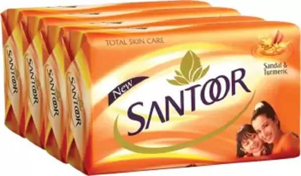 santoor new orange soap 100 gm pack of 4 pc