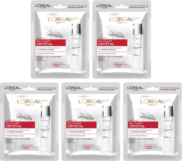 L'Oréal Paris Revitalift Crystal Micro-Essence sheet mask, Pack of 5 Combo