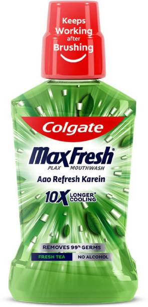 Colgate Maxfresh Plax Antibacterial Mouthwash, 24/7 Fresh Breath with Natural Tea Extracts - Fresh Tea