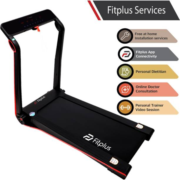 FITPLUS FSRM2402 (2HP Peak Power) Easy Lubrication with Free Diet Plan,Personal Trainer & Installation Services Treadmill