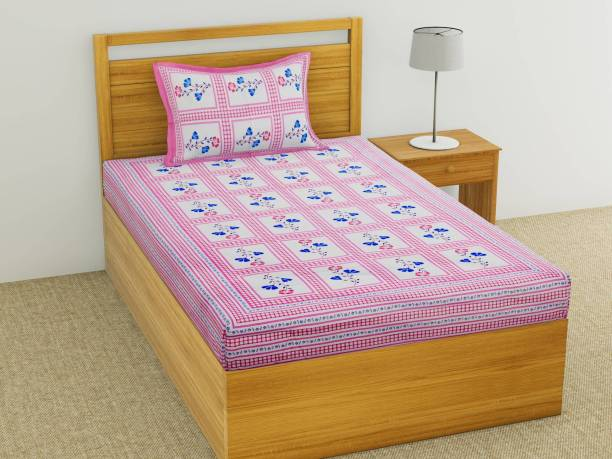 Stycloth 144 TC Cotton Single Floral Bedsheet