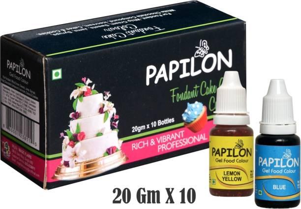 PAPILON Concentrated Gel Food Colour Pack of 20gm x 10 Bottles Multicolor