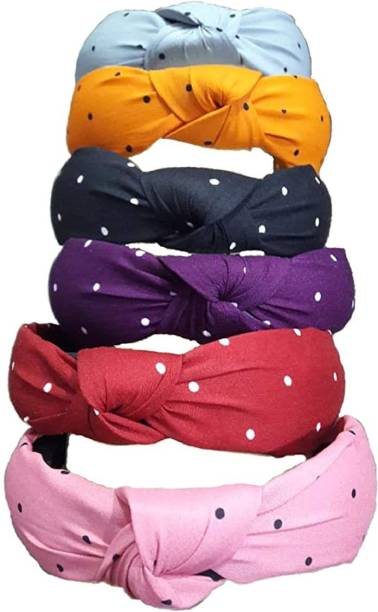 AZEFFIA Hair Accessories Korean Style Solid Fabric Knot with Tape Plastic Hairband Headband for Girls and Woman set of 6 pcs Hair Band