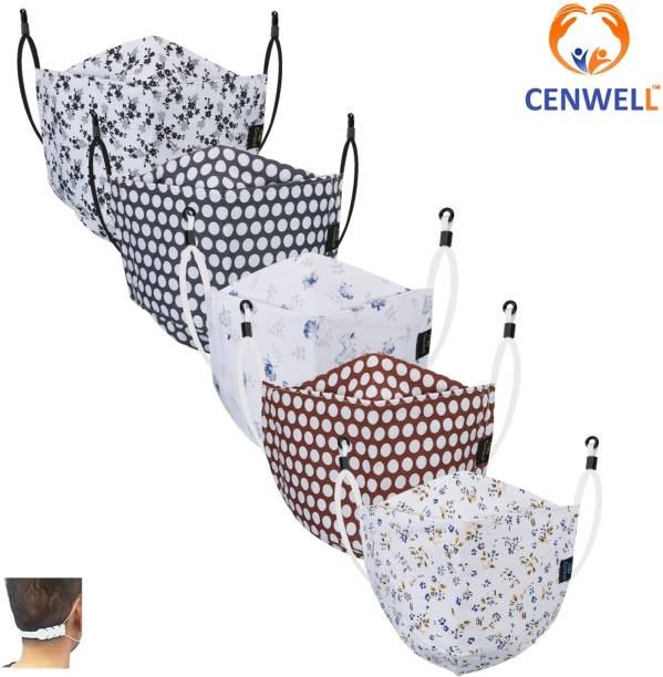 CENWELL Unisex 100% Cotton 3D Shape Mask 6 Layer Protective Fashionable Fabric N95 Cotton Fabric Mask for Men ,Women ,girls , teens with Adjustable Ear loop ,Ear Saver Strap (Reusable Mask , Washable Mask , Pollution Mask) Breathable Cotton Fabric Mask Cloth Mask With Melt Blown Fabric Layer