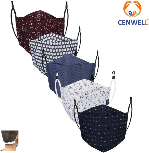 CENWELL Unisex 100% Cotton 3D Shape Mask 6 Layer Protective Fashionable Fabric Cotton Face Mask for Men ,Women ,girls , teens with Adjustable Ear loop ,Ear Saver Strap (Reusable Mask , Washable Mask , Breathable Mask ) Breathable Cloth Mask Cloth Mask With Melt Blown Fabric Layer