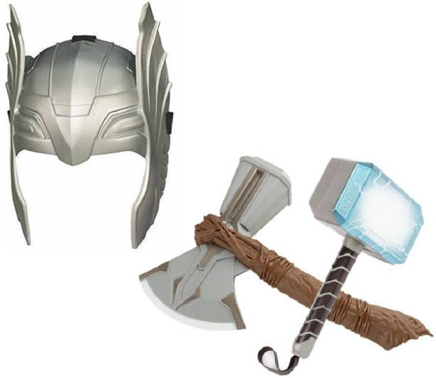 HALO NATION Set of 3 Avenger Toys Weapon - TH0R Mask , Hammer & Axe - Infinity War End Game Superhero Avenger Toy Set Light and Sound Role Play for Kids
