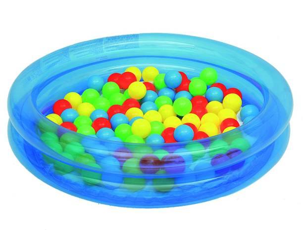 Miss & Chief 2 Ring Pool with 50 pcs Colorful Balls / Pool Balls / Inflatable Pool for Kids