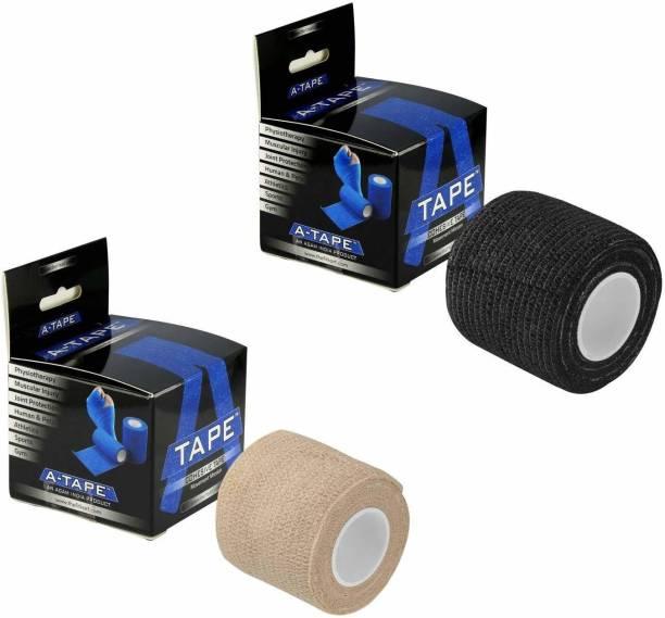 Agam A-Tape Cohesive Crepe Bandage Beige & Black (Reusable & Waterproof, 5 cm X 4.5 Mtr) Crepe Bandage