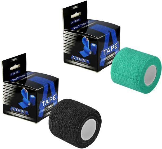 Agam A-Tape Cohesive Crepe Bandage Black & Green (Reusable & Waterproof) Crepe Bandage