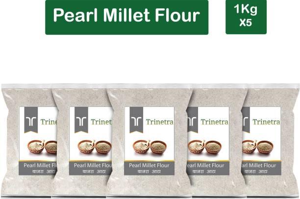 Trinetra Best Quality Pearl Millet Flour / Bajra Atta 1Kg Pack of 5