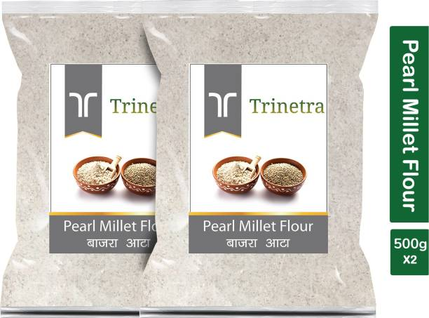 Trinetra Best Quality Bajra Atta (Pearl Millet Flour)-500gm (Pack Of 2)