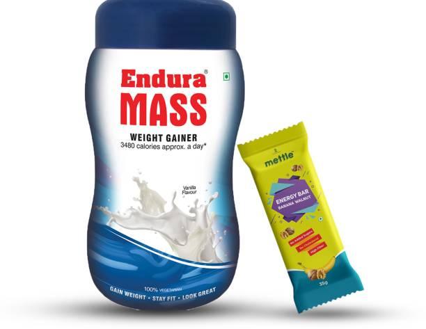 Endura Mass Weight Gainer Vanilla 500g with Mettle Banana Walnut Energy Bar 35 g Combo