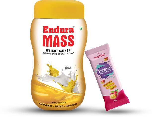 Endura Mass Weight Gainer Banana 500g with Mettle Red berries with White chocolate Energy Bar 35 g Combo