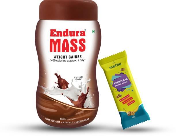 Endura Mass Weight Gainer Chocolate 500g with Mettle Banana Walnut Energy Bar 35 g Combo