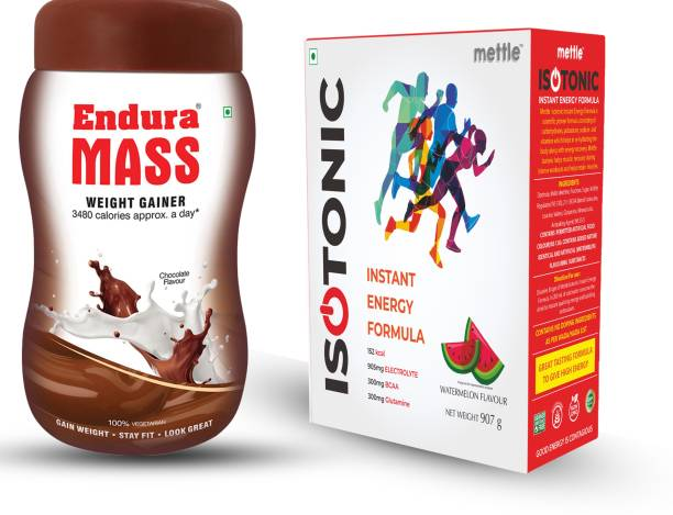 Endura Mass Weight Gainer Chocolate 500g with Mettle Isotonic Instant Energy Formula Watermelon 907g Combo