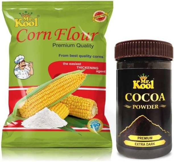 Mr.Kool Extra Dark Cocoa Milkshake Powder 100gm and Natural corn flour 1 kg Combo