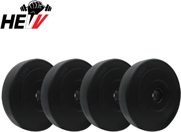 HEVV SPARE WEIGHT PLATES 3 KG X 4 PLATES ( TOTAL 12 KG )FOR HOME GYM EXERCISE Black Weight Plate