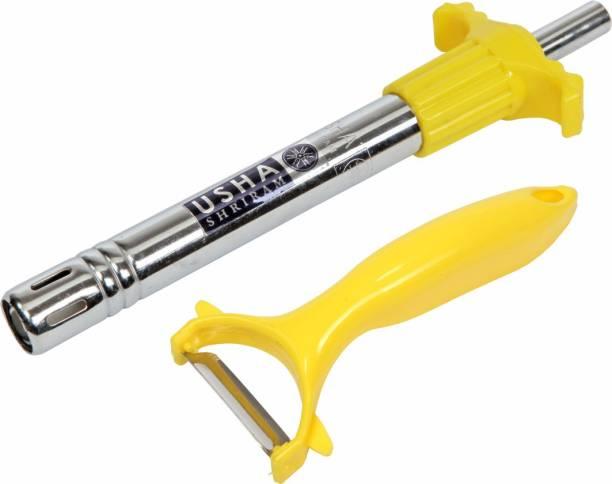 USHA SHRIRAM Gas Lighter with 1 Peeler Steel Gas Lighter