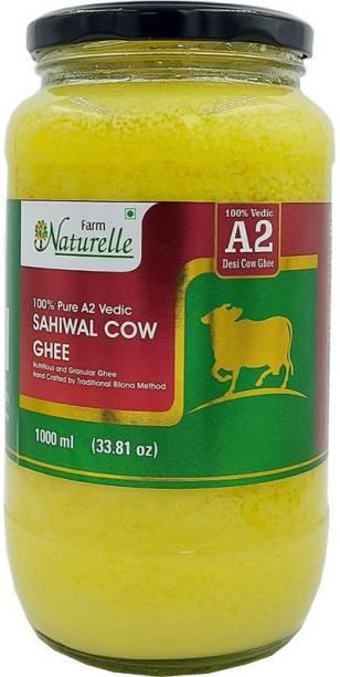 Farm Naturelle A2 Cow Ghee from Grass Fed Desi Sahiwal Cow's Milk Made from Curd by Vedic Bilona Method-Golden , Grainy & Aromatic, Keto Friendly , Glass Jar -1000ml 1000 ml Mason Jar