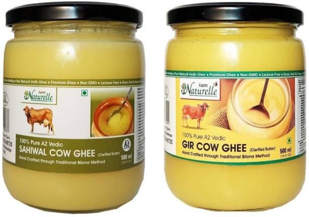 Farm Naturelle 100% Pure Desi Cow Ghee from A2 Milk (500MlX 2) Glass Bottle (Sahiwal ghee+Gir ghee) Ghee 500 ml Mason Jar