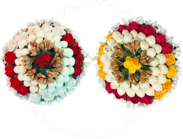AROOMAN ™ Artificial Juda/Bun Combo Hair Accessories For Women and Girls with Flower and Mogra Work Juda For Festives Designer Bridal Wedding Party( Pack-02, Color_Multi) Bun
