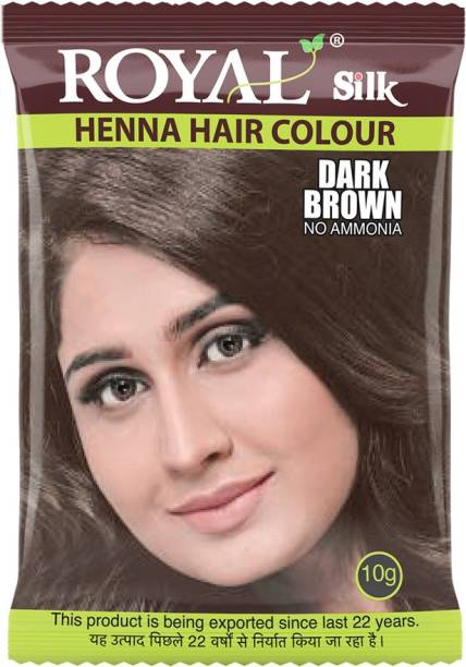 Royal Silk Henna Hair Color, Pack of 10 pcs. (10 X 10g Each) , Dark Brown