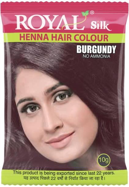 Royal Silk Henna Hair Color, Pack of 10 pcs. (10 X 10g Each) , Burgundy