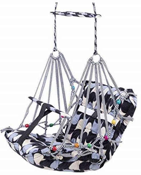 LAPREX Cotton Swing for Kids, Chair Jhula for 1-3 Years Old Babies with Safety Belt, Washable and Folding Jhula, Home & Garden Children Jhula, Baby Swings for Indoor & Outdoor (Multicolour) Swings