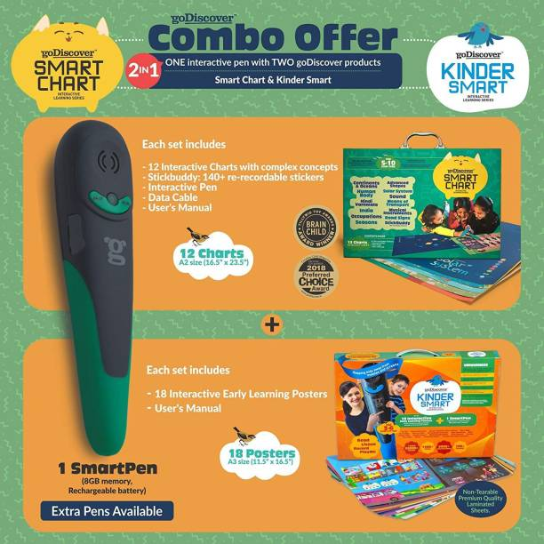 goDiscover Combo : Kinder Smart (18 Interest Based Posters) & Smart Chart (12 Charts with Complex Concepts) with 1 Talking Pen