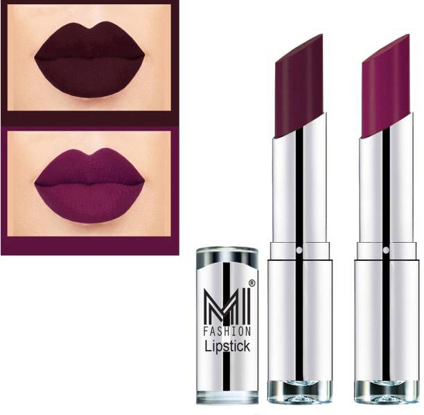 MI FASHION Rich Colors Cr�me Matte Smooth Lipstick Combo Made in India Long Lasting Set of 2 Code no 1465