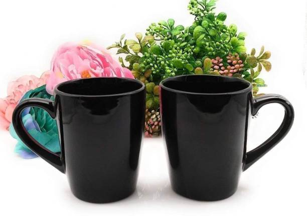 Fluemart Unique Ceramic Glossy Black Colour Tea / Coffee-350ml {Set of 2} Ceramic Coffee Mug