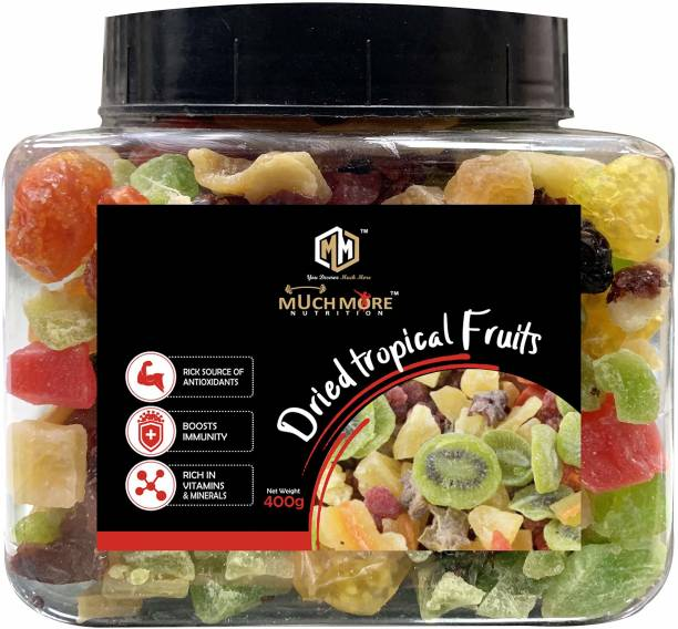 Muchmore Nutrition Premium Mix Of International Dried Tropical Fruits | Healthy & Tasty sun dried fruits | 400g | Strawberry , Kiwi , Mango , Pineapple , Papaya , Cran Berriers , Black Raisins dried fruits without sugar jar pack Assorted Fruit