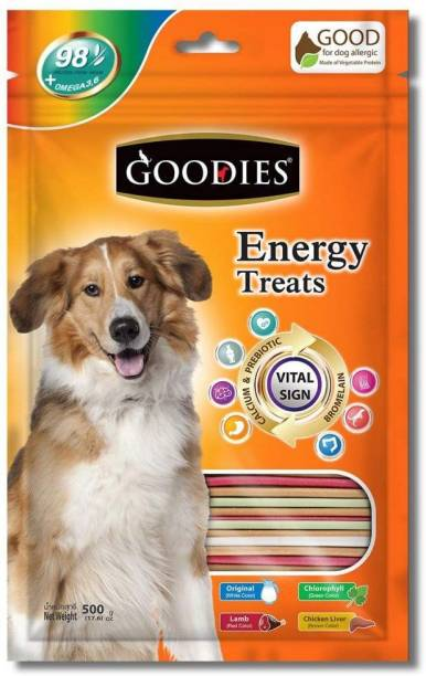 PET LIKES Goodies Energy Treat Mix Stick, 500 g (Pack of 2) Lamb, Chicken, Vegetable 0.5 kg (2x0.25 kg) Dry Adult Dog Food