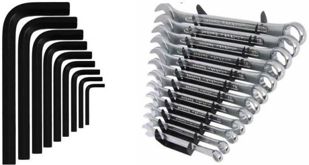 vyas Double Sided Combination Wrench Set Combination Spanner Set And 9-Pcs Full Hex Allen Key Kit Bolt Spanner Goti Wrench L Shape Repair Tool Set for Bike/Bicycle/Cycle/Guitar Allen Key Set Hand Tool Kit