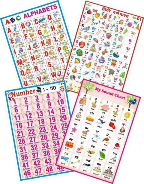 Nursery And Pre Nursery Combo Set Of 4 ABC Alphabet| Hindi Varnmala For Kids | Sound Learning For Kids Counting 1 To 50 On A3 Size