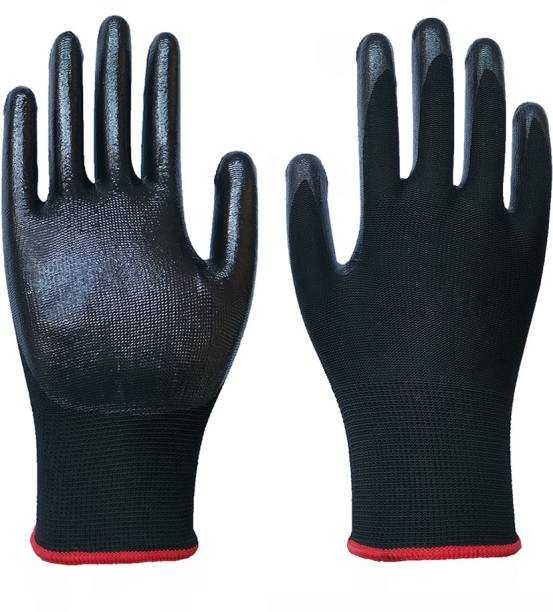 SS & WW 1 PAIR Nylon Nitrile Coated Anti Slip Grip Oil Resistant Industrial Working Hand Gloves Nitrile  Safety Gloves