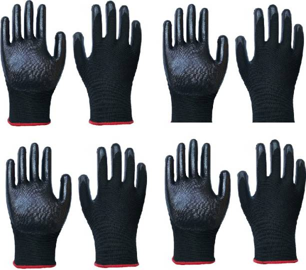 SS & WW 4 PAIR Nylon Nitrile Coated Anti Slip Grip Oil Resistant Industrial Working Hand Gloves Nitrile  Safety Gloves