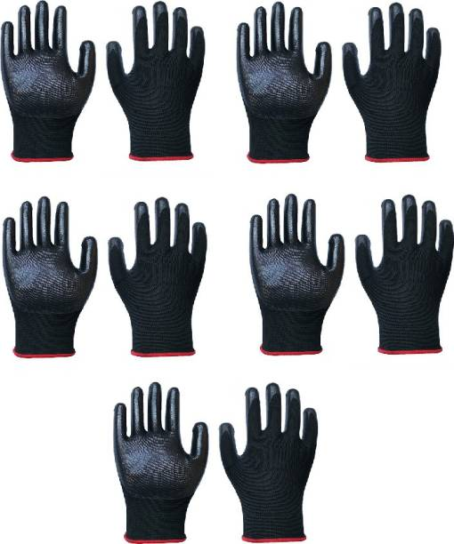 SS & WW 5 PAIR Nylon Nitrile Coated Anti Slip Grip Oil Resistant Industrial Working Hand Gloves Nitrile  Safety Gloves