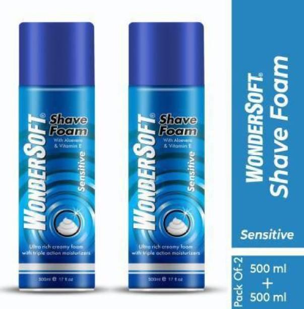 Wondersoft Shaving Foam with Aloe Vera & Vitamin E (Pack of 2)
