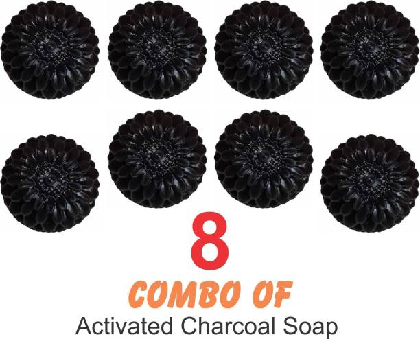 EAGLE TRADE ACTIVATED CHARCOAL Natural Hand Made Soap - (Pack of 8) (800 g)