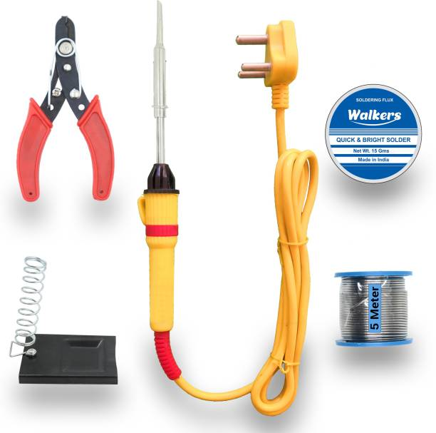 Walkers Beginners 5in1 Mobile Soldering Iron Equipment Tool Machine Combo Kit Set with Flux Paste and Wire 25 W Simple