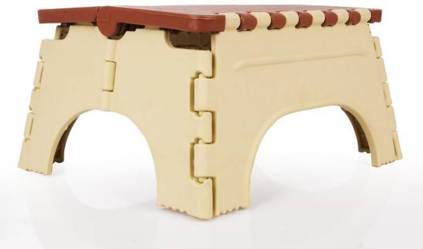 Citymegastore Citymegastore 6.69 inch height Folding Store Foot Rest Under Table for Office Home Under Desk Foot Rester Desk Multipurpose Strong Support Stool for Bathroom Outdoor & Cafeteria Stool (Brown, Cream) Outdoor & Cafeteria Stool