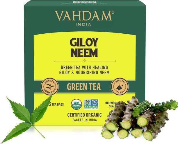 Vahdam Organic Giloy Neem Green Tea Bags Box